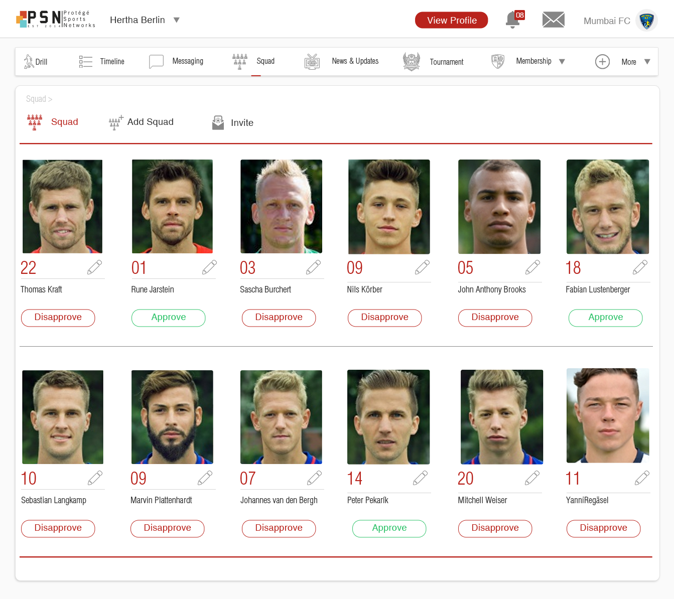 Protege Sports SAAS for academies and team management